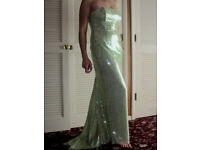 PALE LIME GREEN FULLY SEQUINNED GOWN/STAGE DRESS!