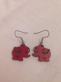 Red wooden dangly elephant earrings