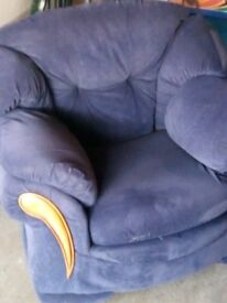 Navy three seater sofa and two armchairs.
