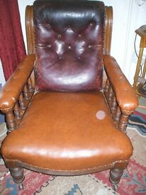 Two lovely Edwardian Leather Armchairs for restoration
