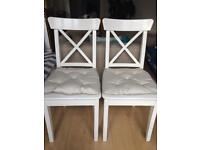 Pair of Solid Wood Ikea Ingolf Chairs