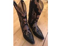 Loblan real Leather Cowboy Boots Genuine Western Size 5
