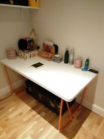 £45 ONO - IKEA Rydeback White Dining Table/Desk with Orange Legs - 150x78cm - Good Condition!