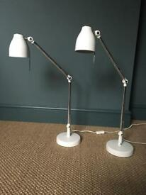 Two Bedside Lamps - White/Chrome
