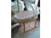 John Lewis white waffle Moses basket with Clare de lune stand