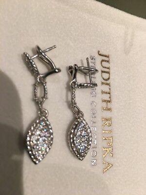 JUDITH RIPKA 925 Sterling Silver Diamantique Marquis Shaped Drop Earrings QVC