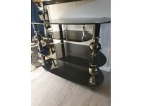 Black gloss tv stand with 4 shelves