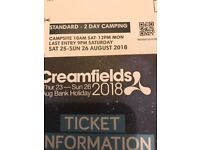 Creamfields standard two day camping ticket saturday - Sunday