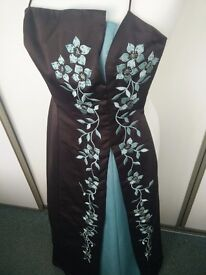 Brown full length dress with turquoise inset size 8