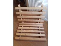3 ft single wooden futon frame with mattress £30