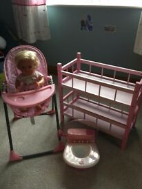 Dolls High Chair, Bunk Bed, and Toilet