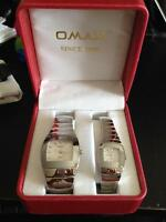 OMAX His and Hers Stainless Steel Watches NEW
