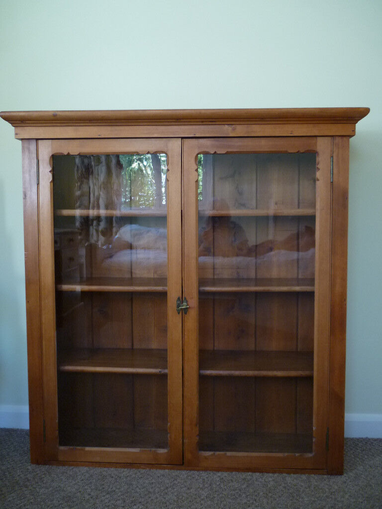 Antique Scottish Pine Glass Fronted Wall Cabinet In Felixstowe Suffolk Gumtree