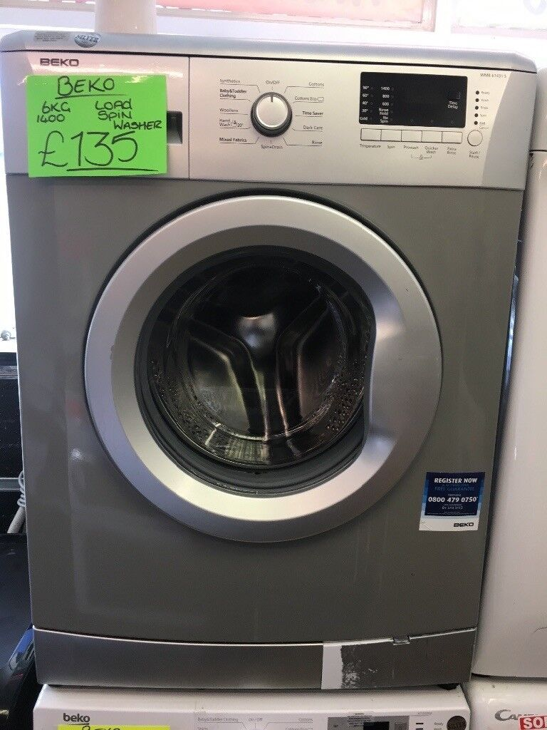 BEKO 6KG DIGITAL SCREEN WASHING MACHINE IN SILIVER