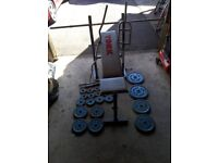 York Folding Weights Bench and Weights