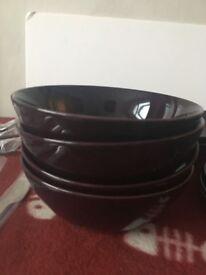 4 piece purple plate set