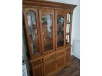 Solid oak display cabinet with interior light