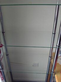 5 tier glass shelving unit. Excellent condition.