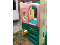 Little Tykes Playhouse with double pink slides and tunnel