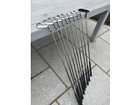Golf Clubs - Set of 9 irons plus putter, RH. 3 - SW plus bag and trolley.