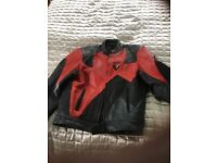 Frank Thomas black and red leather motorcycle jacket