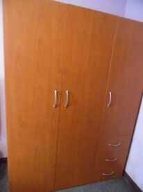 TRIPLE WARDROBE..DOUBLE HANGING SPACE, DRAWERS AND SHELVES. EXC COND