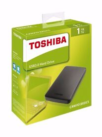 1TB Toshiba Canvio Basics 1 TB Portable External Hard Drive Disk 2.5 Inch USB 3.0 Black HDTB310EK3AA