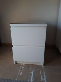 White, 2 drawer bedside table with optional glass top.