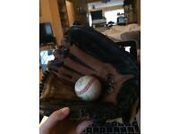 Leather Glove and Baseball