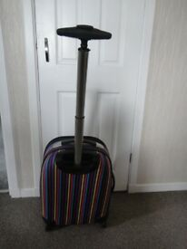 Small hand luggage trolley case multi coloured, 20 inches high x 14 inches wide x 9 inches deep,