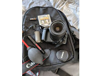 Canon EOS 1100D with EFS 18-55mm lens - camera bag - cleaning tools