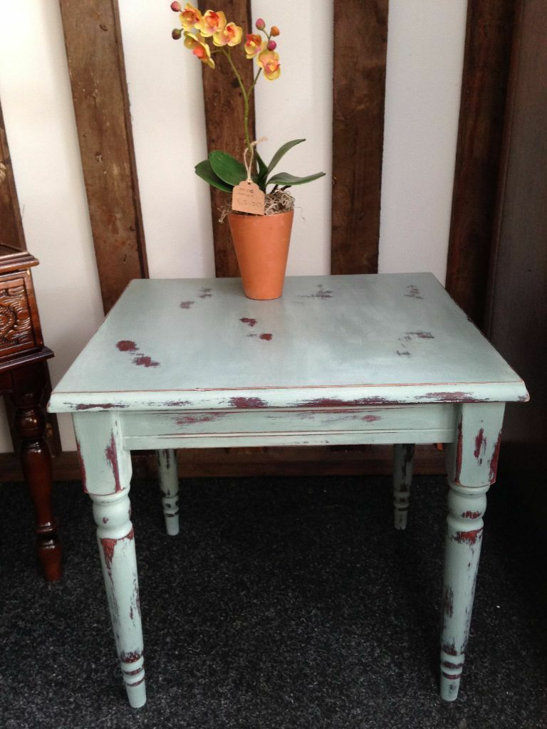 Blue shabby chic furniture - Shabby Chic Annie Sloan Distressed Duck Egg Blue Side End Coffee Table Furniture