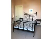 Wrought iron style IKEA double bed frame and mattress