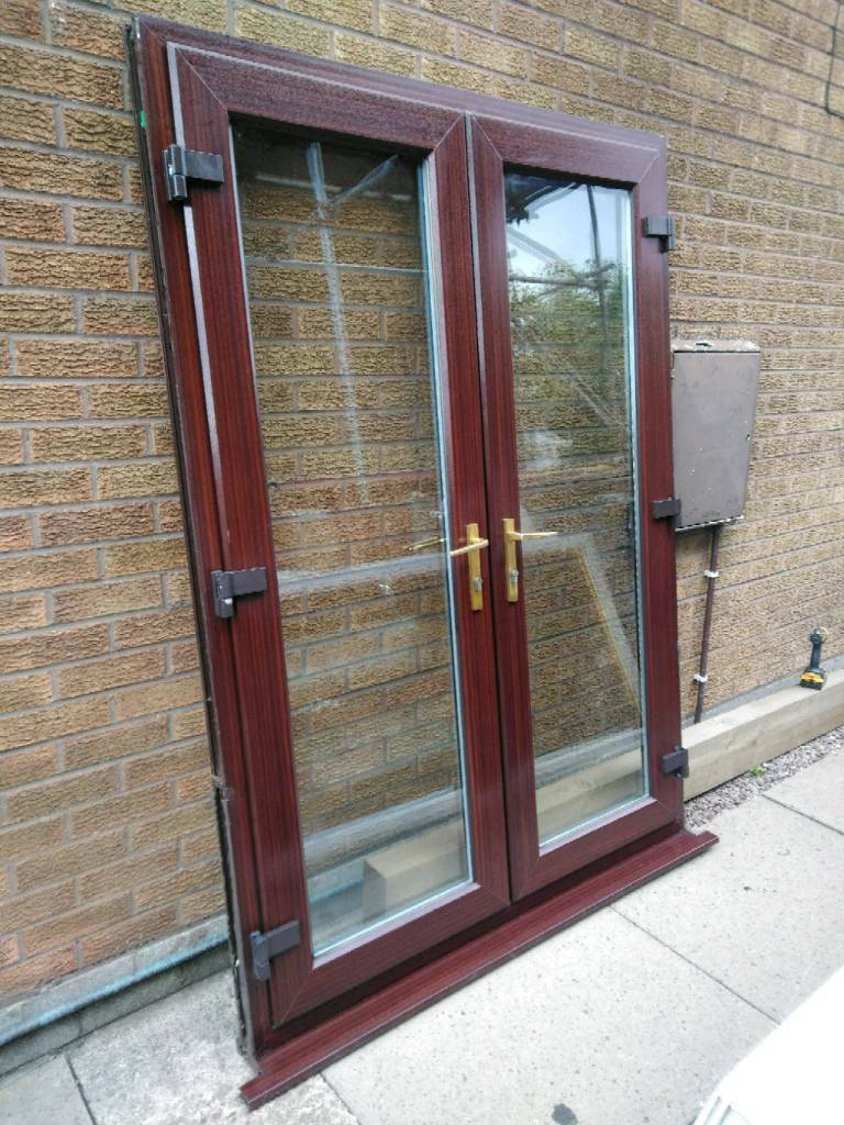Mahogany Brown Upvc French Doors In Stoke On Trent Staffordshire