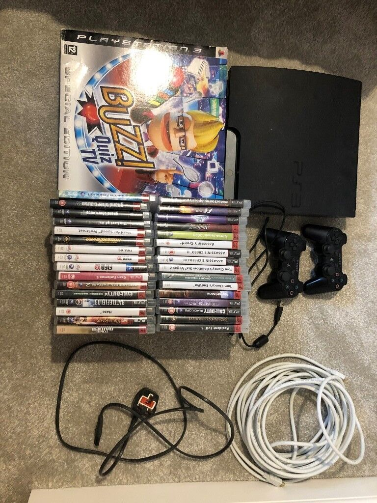PS3 150GB, 33 Games (including Last of us , Buzz (£23, £30 on amazon) ), 2  remotes, HDMI, Power Lead | in Worksop, Nottinghamshire | Gumtree