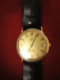 Vintage quartz OMEGA Sea Master with black strap excellent condition working well
