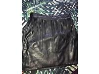 H&M Frilled Leather Skirt