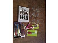 Bundle - wine glasses, cutlery, etc