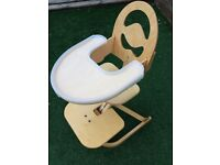 Svan High Chair - Natural Wood with plastic removable tray - from 6 months to youth