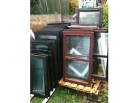 Window casements with clear double glazed glass (wood ,no frames) £3 each