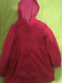 Pink shower proof coat age 5-6yrs