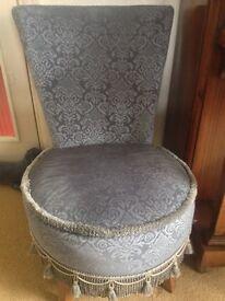 Blue Bedroom chair on wooden legs