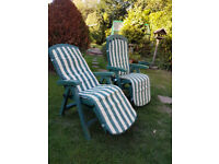 Two Garden chairs. recline in seven positions.