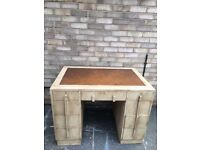 ART DECO DESK SOLID OAK PARTNERS STYLE ONE PIECE LEATHER TOP PAINTED 1930s