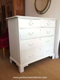 CHALK PAINTED ANTIQUE GEORGIAN CHEST OF DRAWERS