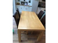 Large one piece light oak effect dining table and 4 chairs