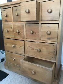 Solid Oak wood 12 Drawer dresser