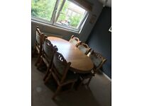 Solid Oak Extendable Dining Table + 6 Chairs