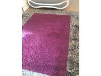 Rug - Aubergine/Purple shaggy style rug and 4 free cushion covers