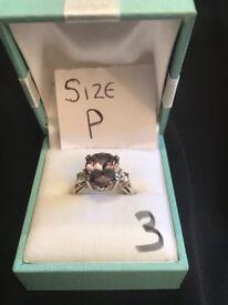 Smokey purple stone ring